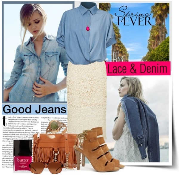 Denim Shirt with Lace Skirt Outfit Idea