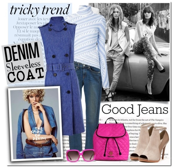 Denim Sleeveless Coat Outfit Idea