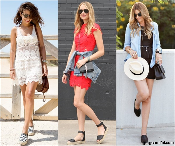 Espadrilles with Little White, Red, Black Dress