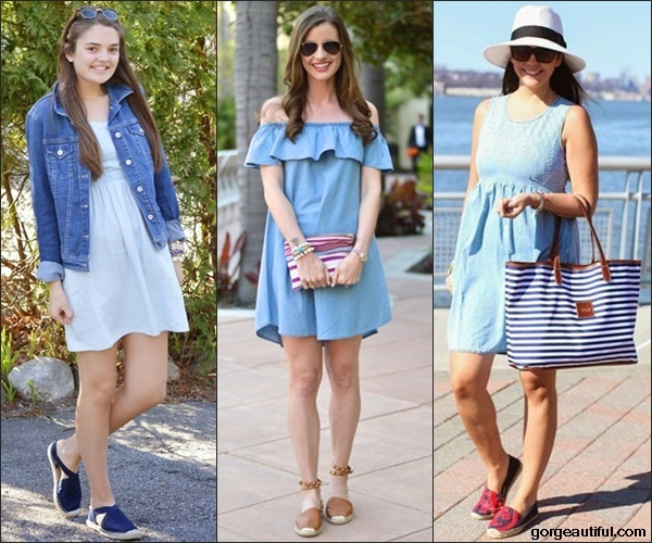 Flat Espadrilles with Chambray Dress