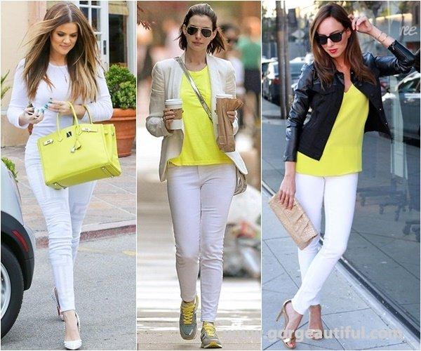 White Skinny Jeans with A Pop of Neon Shades