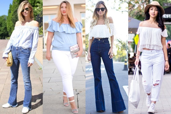 Ways to Wear Off-the-shoulder Top with Jeans
