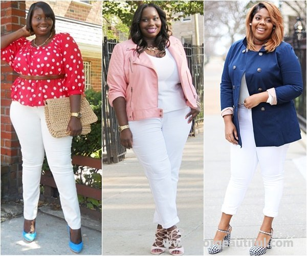 Plus Size White Skinny Jeans Fashion Outfit Ideas
