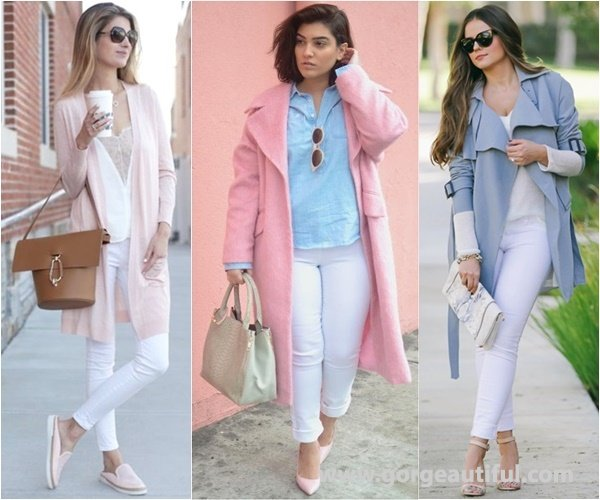 White Skinny Jeans with Pastel Layering Pieces for A Calm Spring Touch