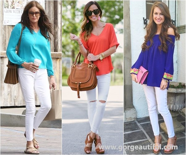 Bright Color Matched with White Skinny Jeans for Spring and Summer