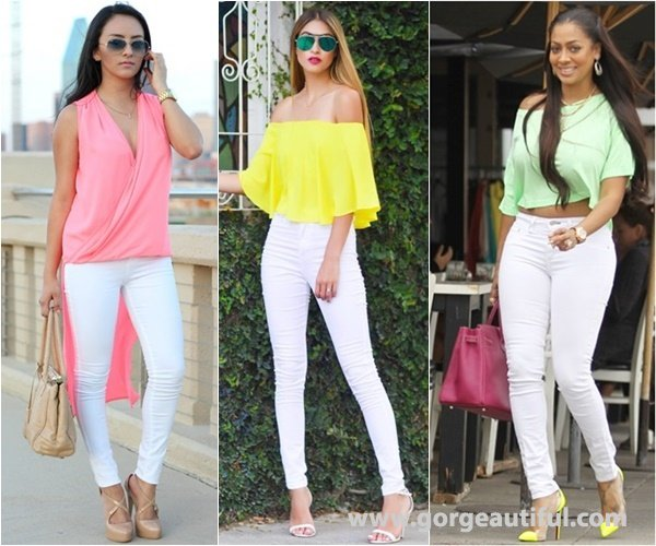 Neon Color with White Skinny Jeans to Create Interest into the Look